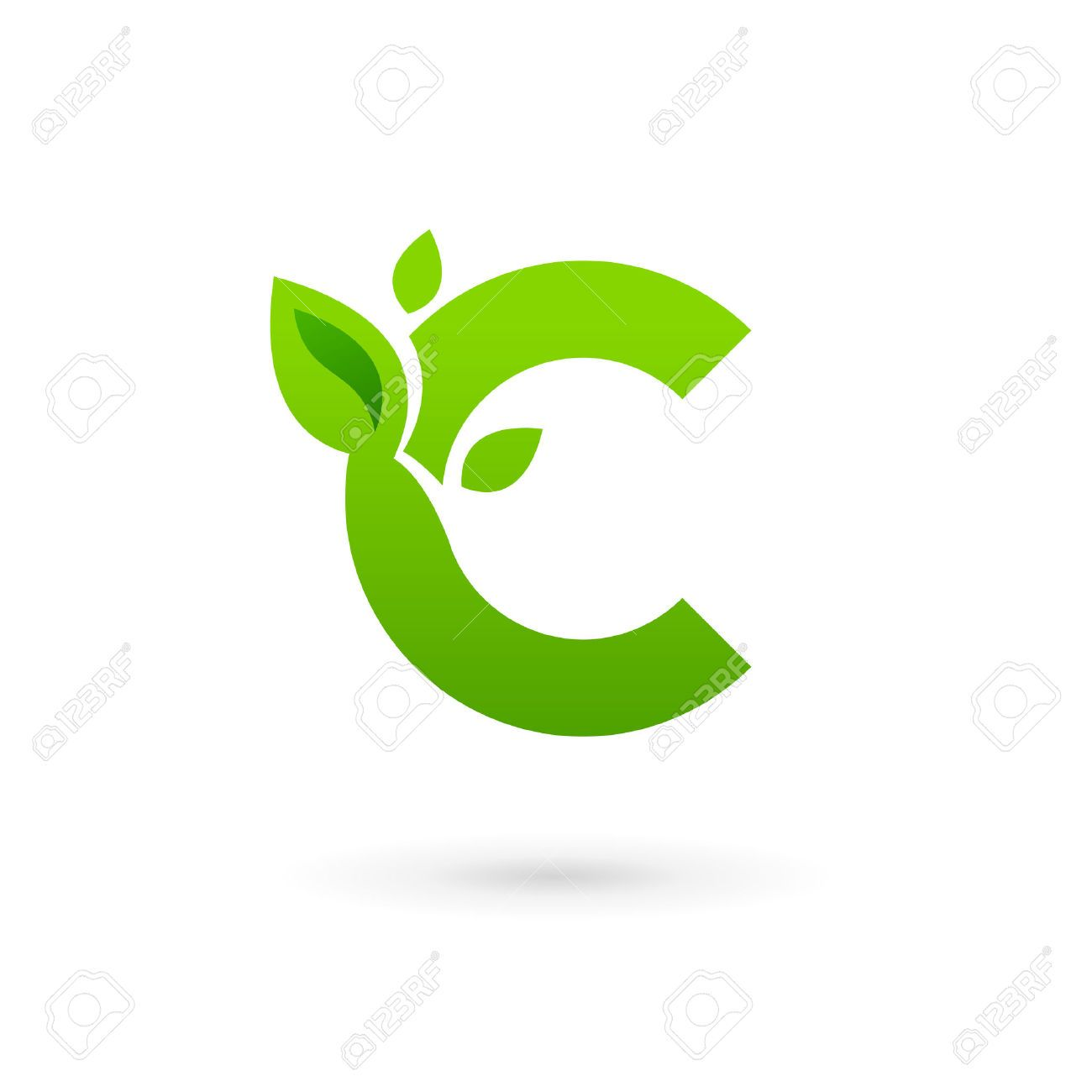 Letter C Eco Leaves Logo Icon Design Template Elements ...