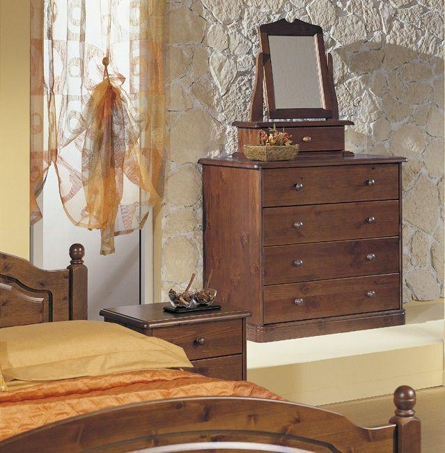Com e specchiera con cassettino realizzati in legno di pino produzione mobili rustici in - Mobili in legno di pino ...