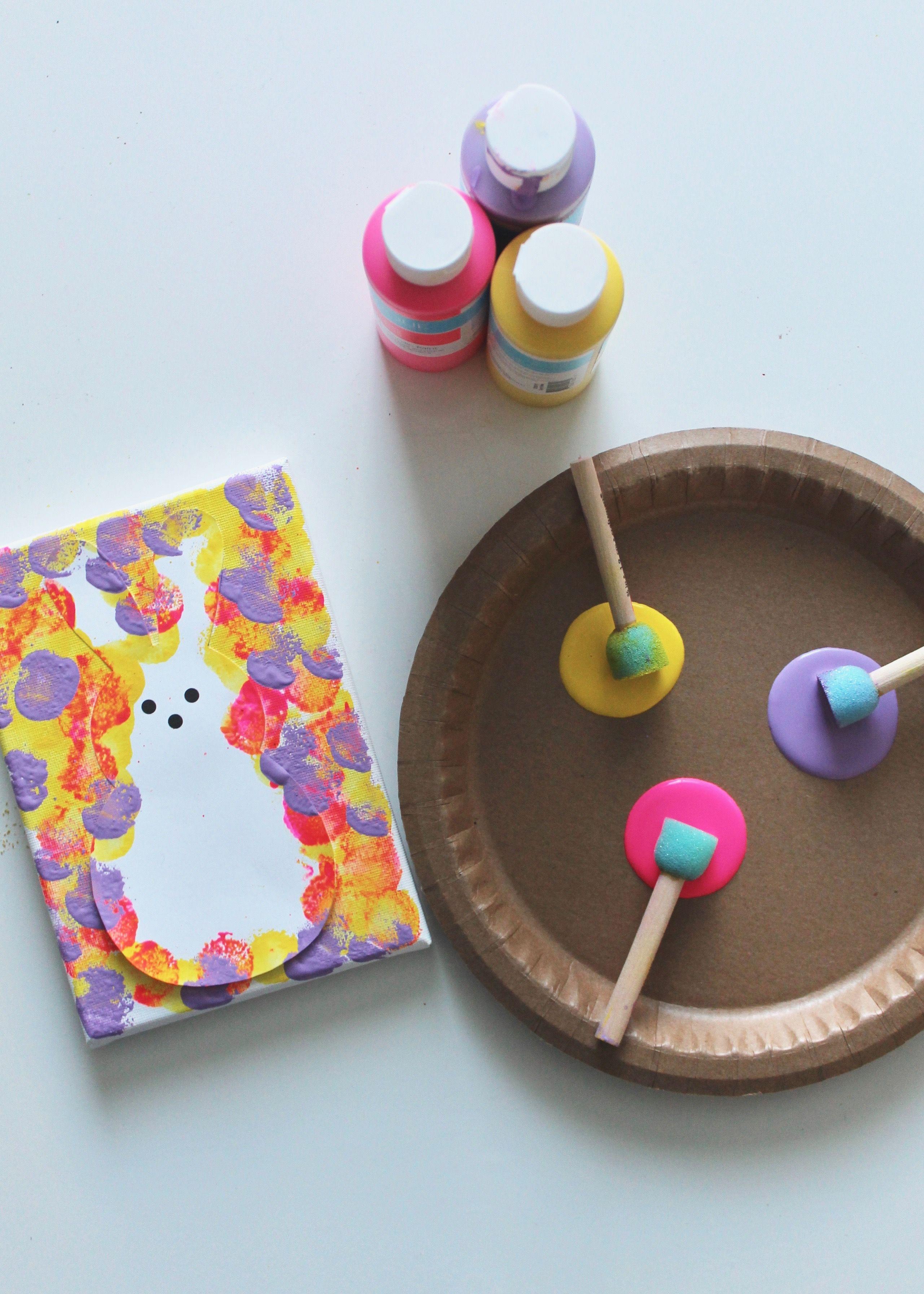 Photo of DIY Kids Peeps Bunny Canvas Art – This Sweet Happy Life