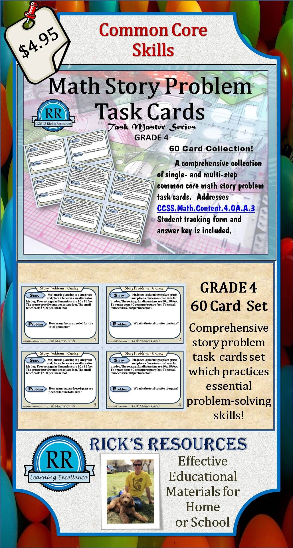 A Comprehensive Set Of 60 Math Story Problem Task Cards Which Is Aligned With Ccssthntent