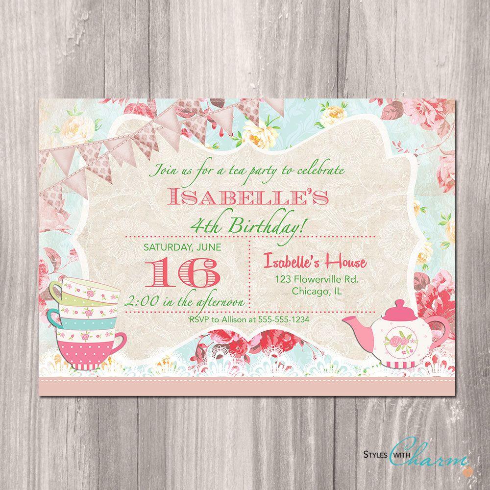 Shabby Chic Tea Party Invitation Tea Party Birthday Bridal Or