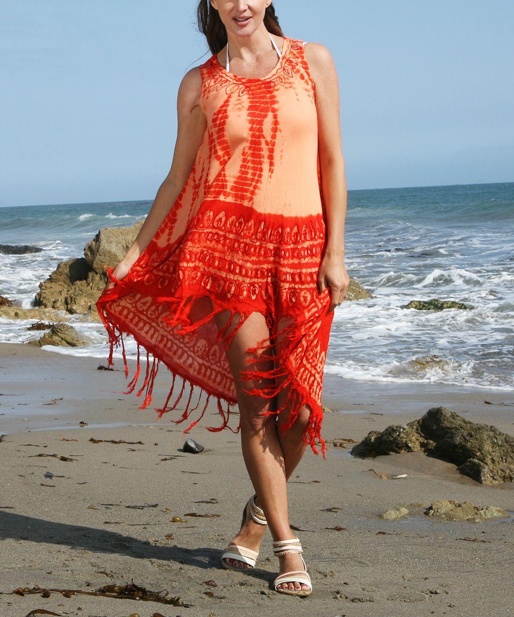 Orange Tie-Dye Hi-Low Dress