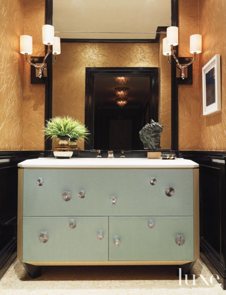 Bronze Modern Powder Room with Custom Vanity- Change the walls and ...