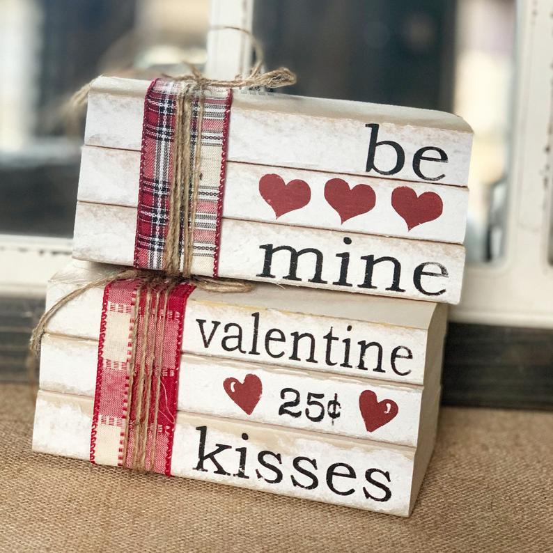 Valentines Day Decor / Stamped books / Valentines / Farmhouse decor Valentine kisses / Tiered tray decor / books / Valentines Decorations