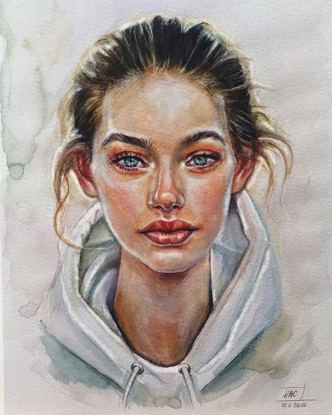 Pin Von Nadine Auf Merken Wasserfarben Portraits Aquarell