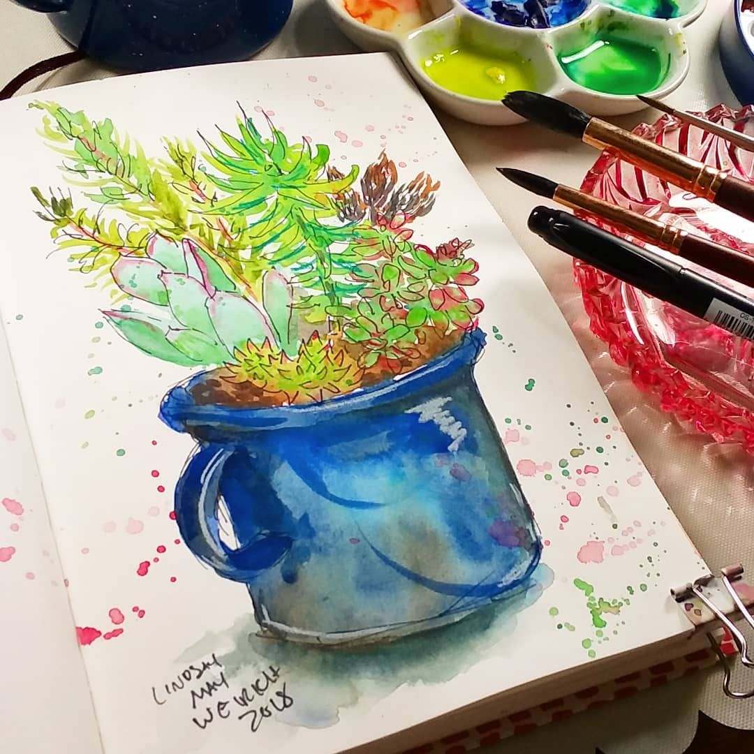 Sketchbook Sunday Succulents Painting The Frugal Crafter