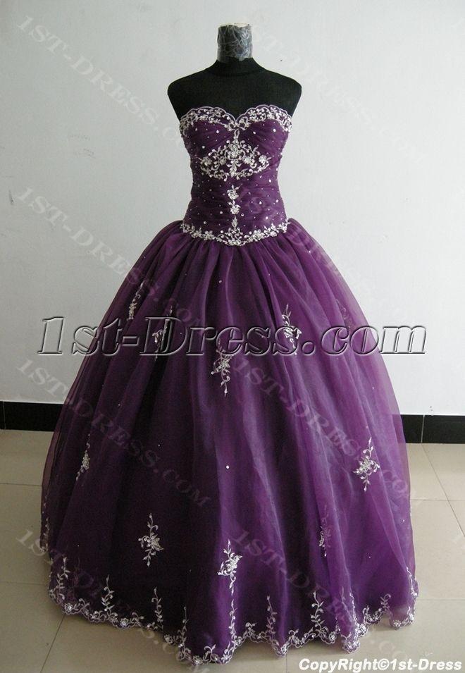 07f670da9ac Ball Gown Princess Strapless Sweetheart Floor-Length Satin Organza Plus Size  Quinceanera Dress 3300 1st-dress.com