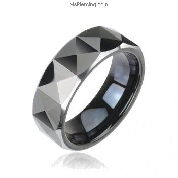 PVD Black Tungsten Carbide Ring With Triangular Prism Cut Design #mspiercing #piercings