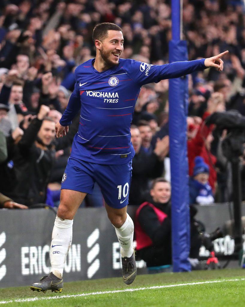 Eden Hazard of Chelsea celebrates after scoring his team's third ...