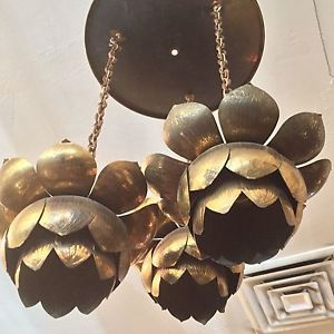 Original feldman 3 pendant light lotus brass chandelier mid century original feldman 3 pendant light lotus brass chandelier mid century modern aloadofball Image collections