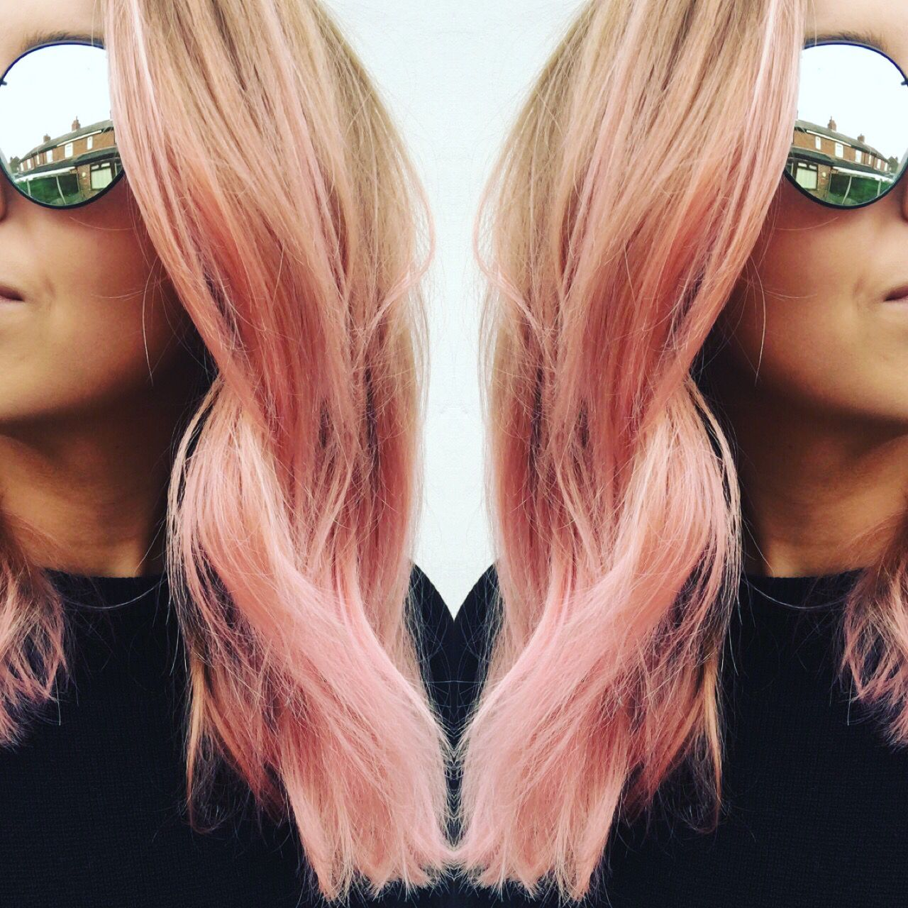 Bleach London Rose pink & Awkward Peach colours mixed to create a rose gold hair colour. Check out my blog post on how to make this colour!
