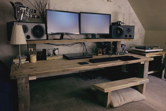 Bespoke chunky office computer workstation by palletablewoodworks