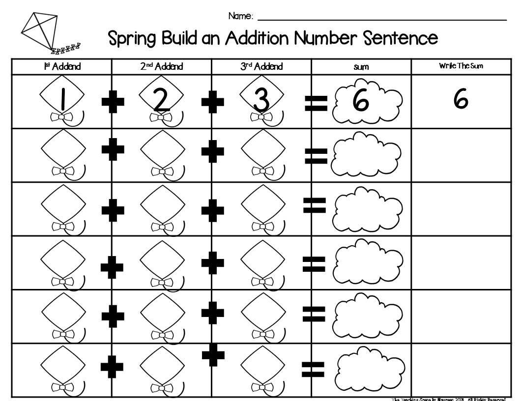 Spring Build 3 Addend Addition Amp Subtraction Number