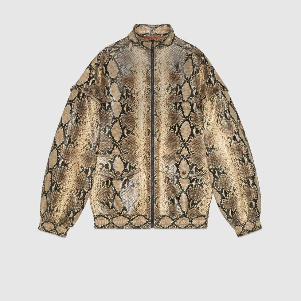 Shop The Python Print Leather Bomber By Gucci Unconventional Interpretations Of Patterns That Casual Fall Outfits Outerwear Women Casual Bomber Jacket Outfit [ 980 x 980 Pixel ]