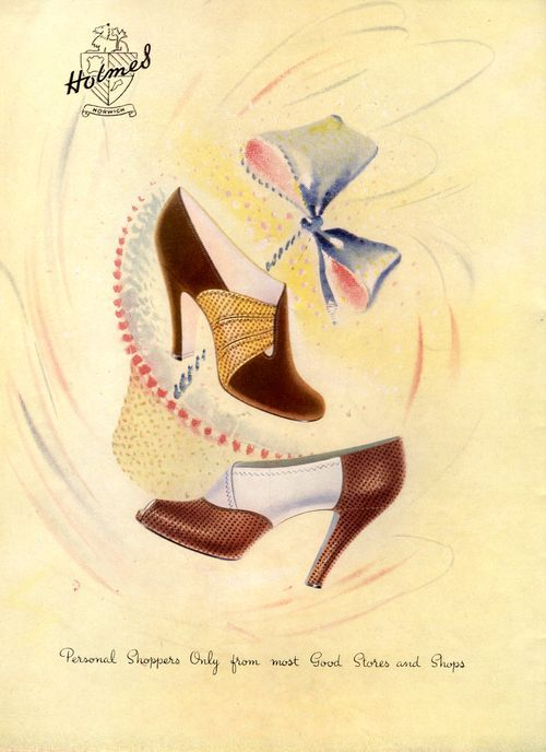 Eye-catching, very wearable two-tone heels from 1948. #1940s #shoes #vintage #retro #fashion #ad