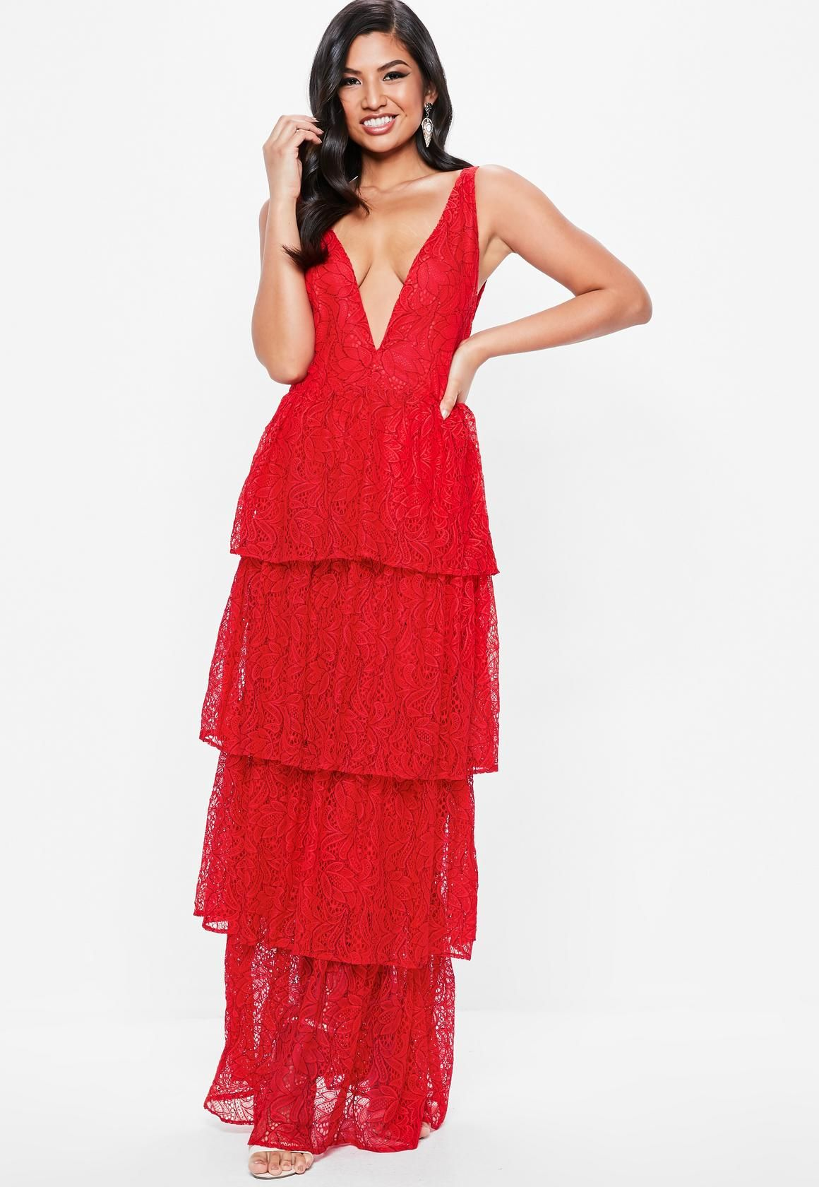 303760e93f84 Missguided - Red Lace Tiered Frill Maxi Dress | Wearing | Dresses ...