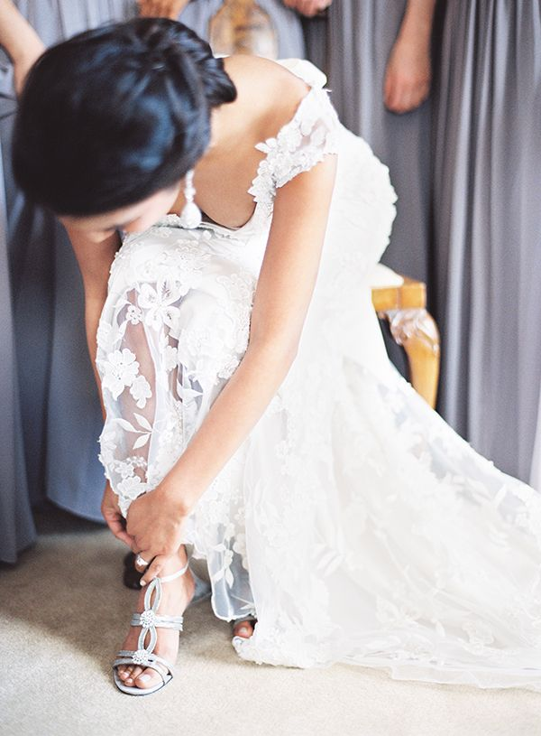 Elegant Lace Wedding Dress With Silver Bridal Shoes Marissa Lambert Photography White Peonies And