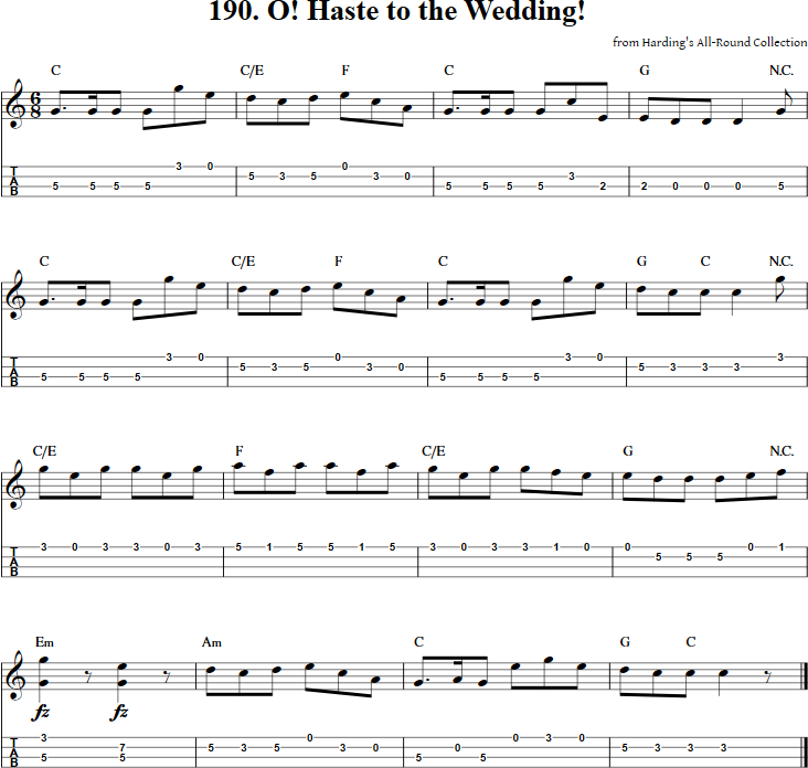 Free Mandolin Tab And Sheet Music For O Haste To The Wedding Along With Many Other Titles