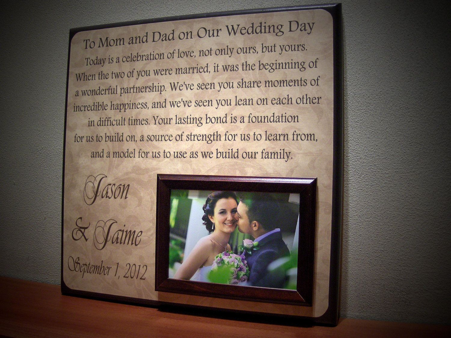 Thank You Gifts For Parents At Wedding: $65 PARENTS THANK YOU Wedding Frame, Today Is A