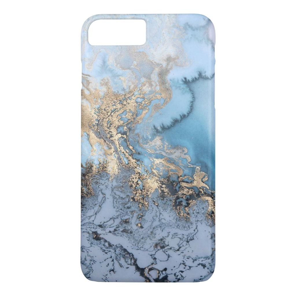 Blue Grey Gold Modern Marble Texture Barely There Iphone 8 Plus/7…
