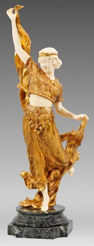 Affortunato Gory(Italienischer Bildhauer. Tätig Um 1895   1925. War  Ansässig In Paris)Orientalische TänzerinVergoldete Bronze; Elfenbein,  Geschnitzu2026