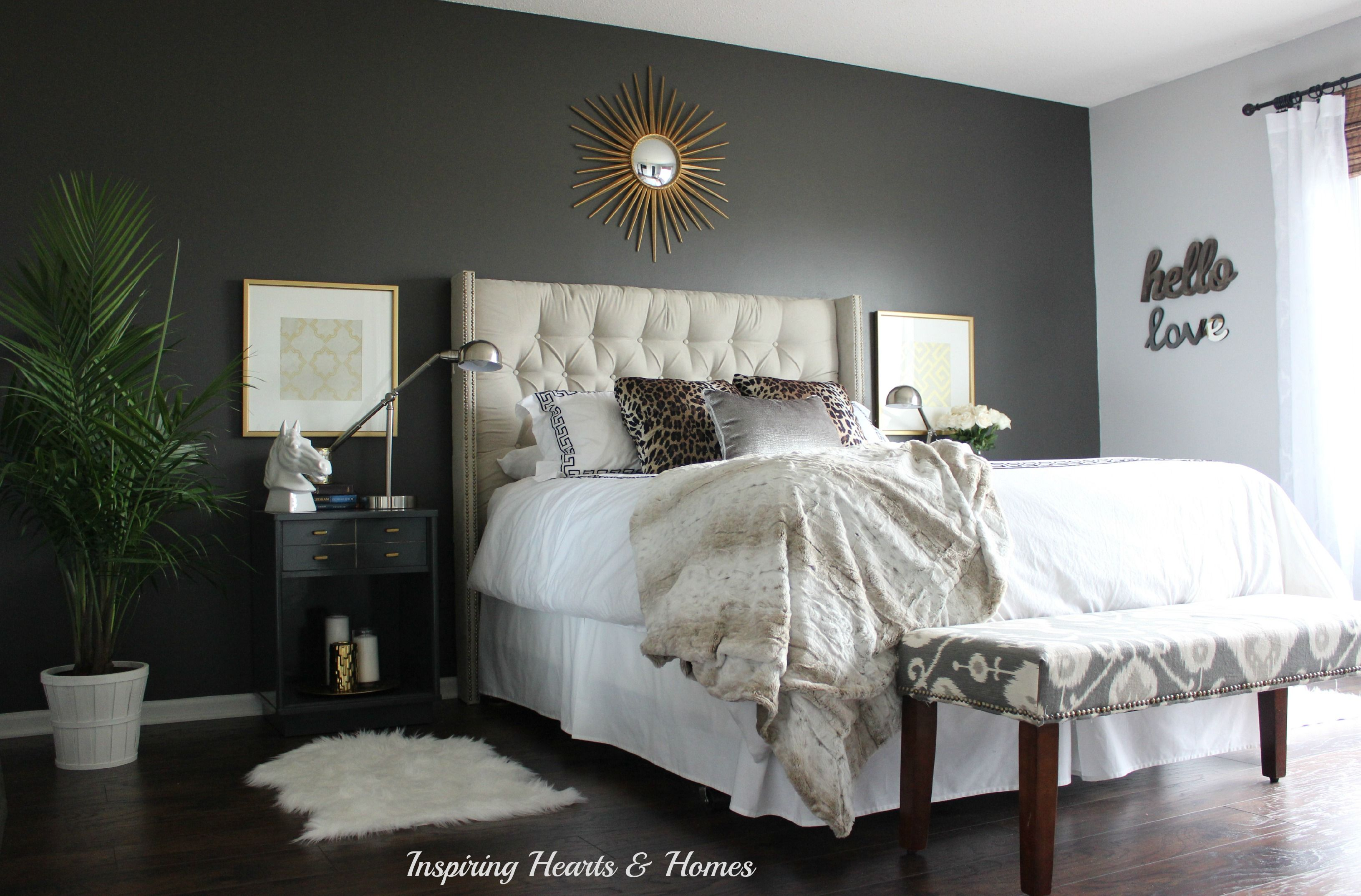 Sexy Master Bedroom, Tufted Headboard, Gold, Dark Wall