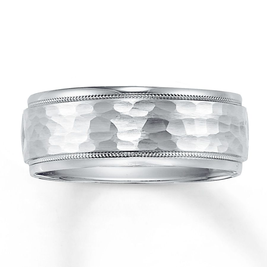 Beaded Rows Above And Below Frame The Hammered Finish Center Of This Contemporary Wedding Band Ring Is Styled In White Gold Available Sizes