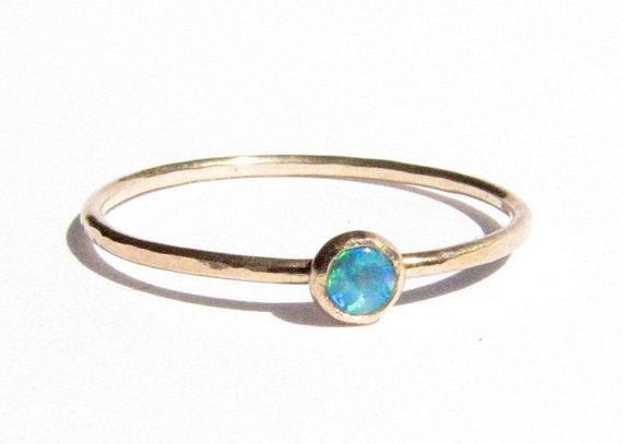 Sale Opal 14k Solid Gold Ring Stacking Ring Thin by Ringsland