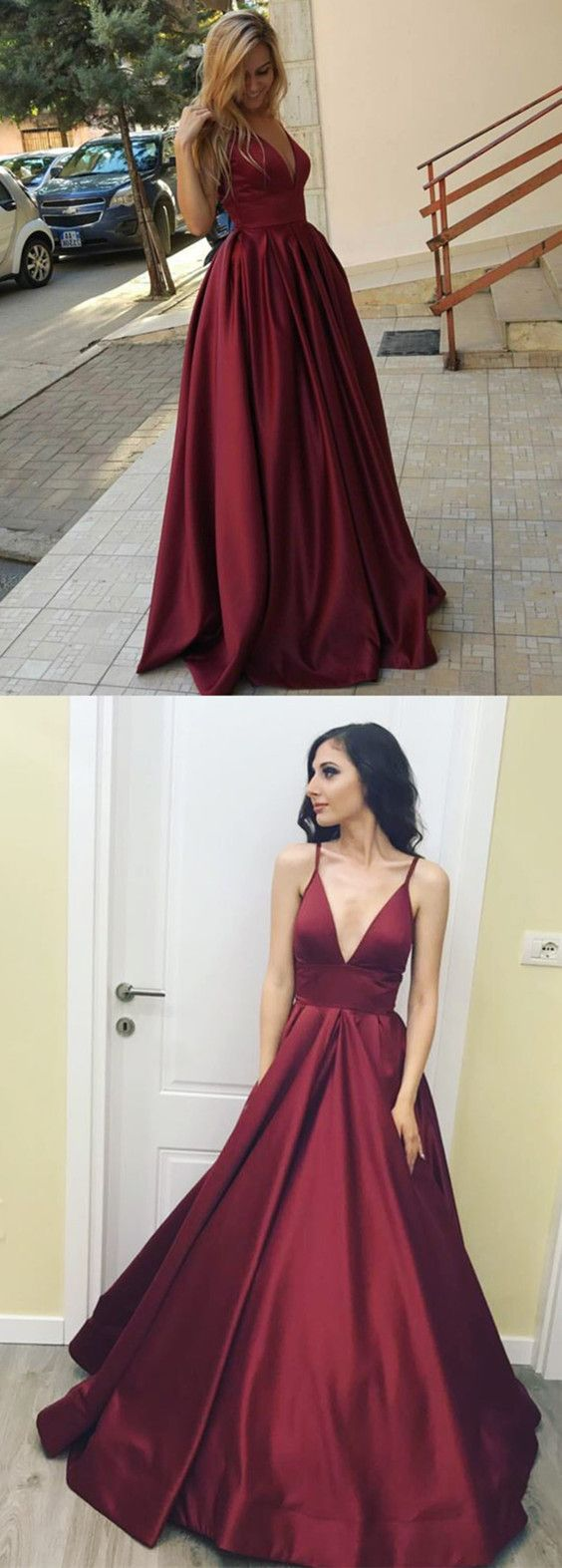 Burgundy satin v neck long evening gowns for wedding party prom