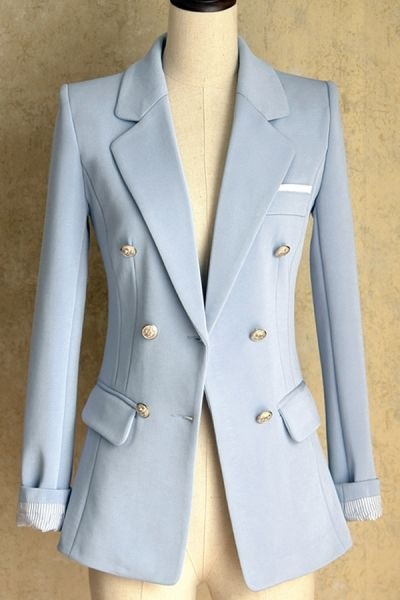 Double Breasted Light Blue Blazer With Gold Buttons