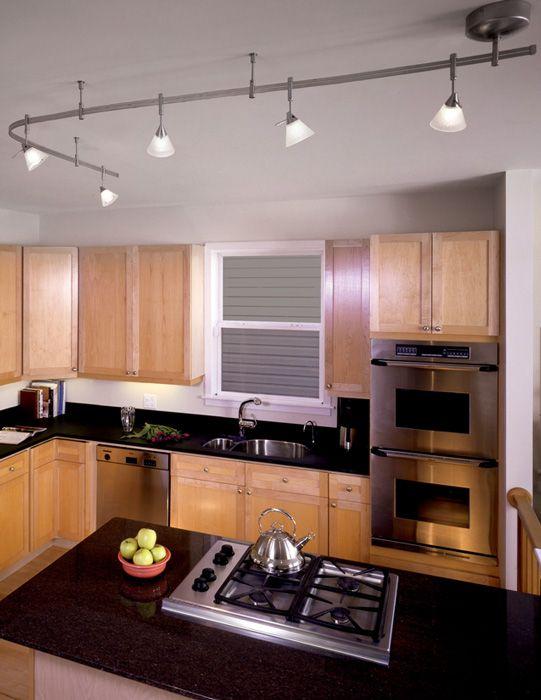 Illuma Flex Track Lighting Installed In A Kitchen From: Tiella 800RAL5AMZ, Sola Track Lighting Kits, 100 Watt