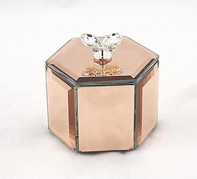 Hexagon Shape Rose Gold Mirror Diamante Butterfly Jewelry Storage