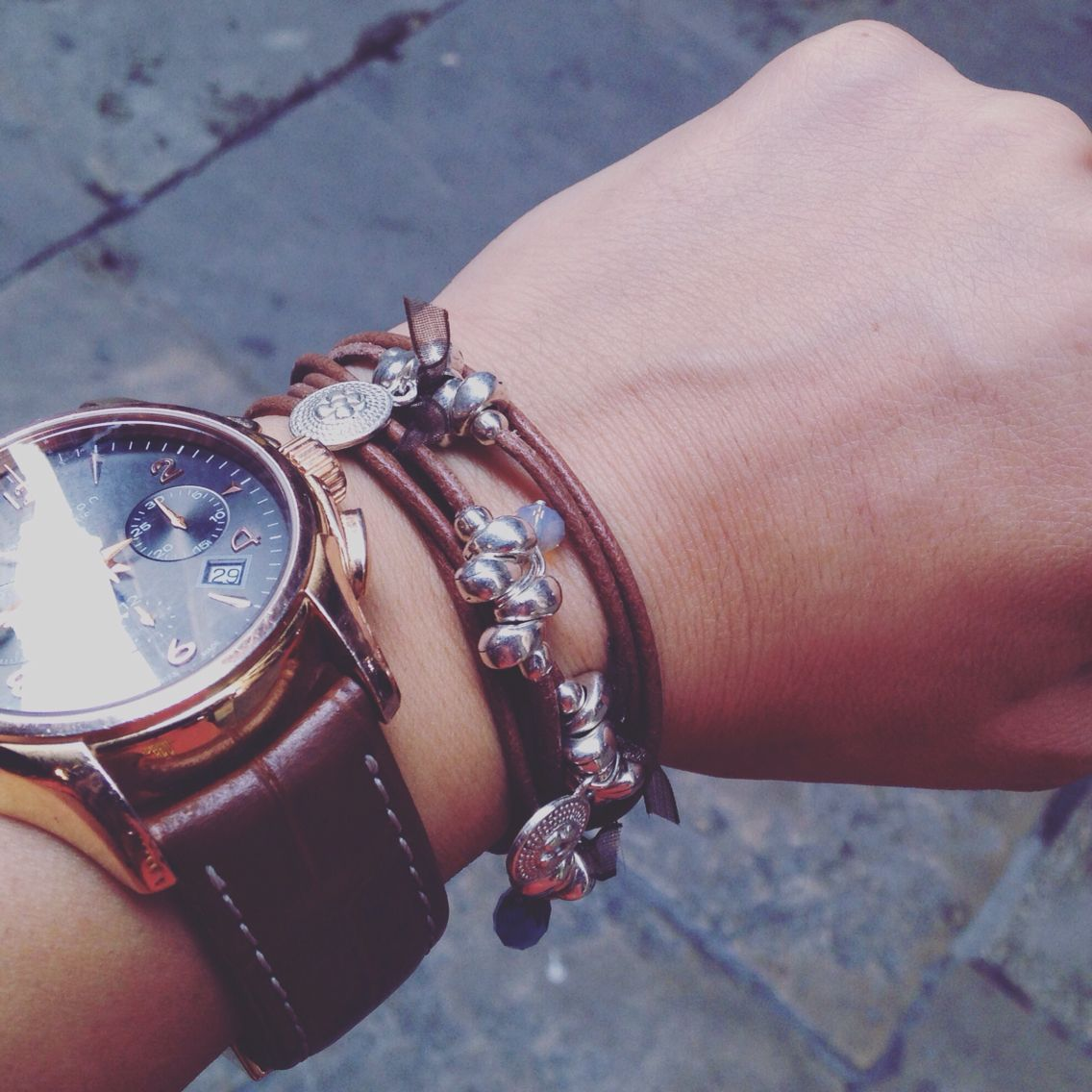 5379317173ab Leather bracelet with metal charms. Hand made in Barcelona ...