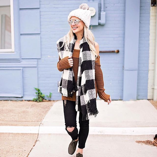Who says you can't show a little shoulder in the winter?!❄️ Just throw on a mega blanket scarf like this buffalo plaid number and you can wear all the cozy chic off shoulder sweaters your little heart desires. Speaking of off shoulder sweaters, this one is my absolute FAVE and it's still in stock in all sizes!!  The waffle knit material is SO slouchy + stretchy and you'll love the price too!!  Shop the outfit for yourself by clicking on the link in my bio or by registering your ...