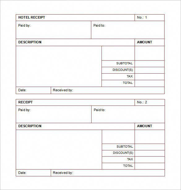 Hotel List Template Word , Receipt Template Doc for Word Documents