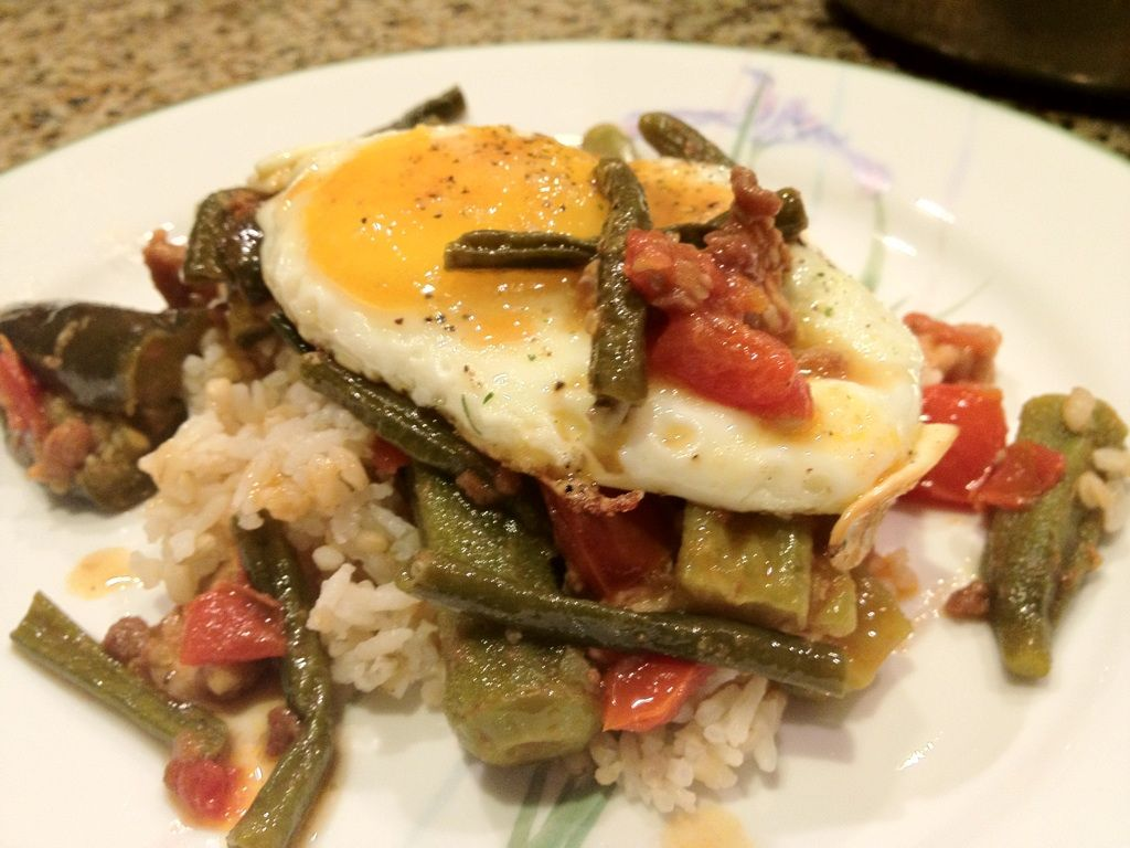 The Homecoming: Fried Egg Topped Old School 'Pinakbet' (Filipino Vegetable Stew with Pork)