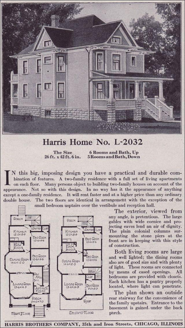 1918 harris bros co kit home catalog plan l 2032 for Duplex kit homes