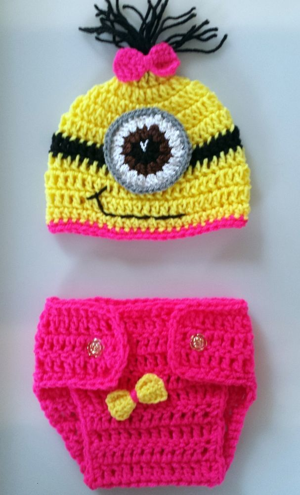 Hand crochet minion OUTFIT photo prop COSTUME gift size 0-3 months ...