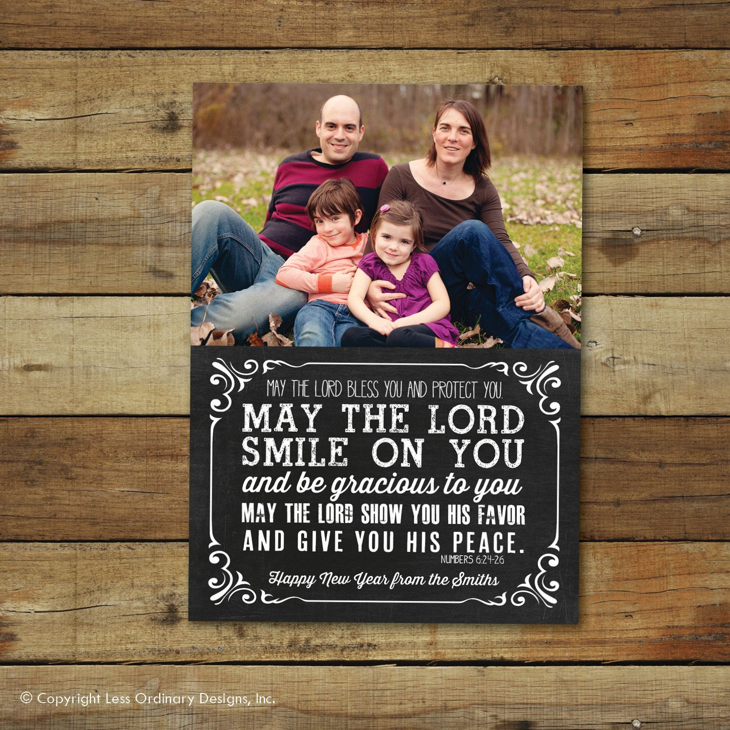 Chalkboard New Years Card Printable Photo Card With Bible Verse