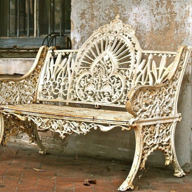 Wrought Iron Vintage, Antique Garden Bench, Rustic, Rusted, Metal, White,  Painted, Elegant.