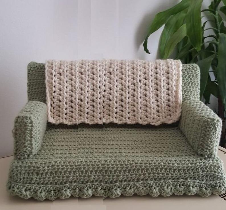 Crochet Cat Couch Kitty Bed Chair Pattern Pdf Make In Different Sizes In 2020 Cat Couch Crochet Cat Bed Crochet Cat