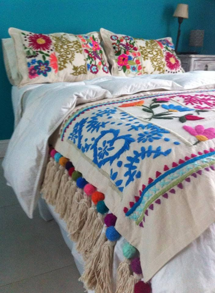 Traditional boho folklore folk art floral embroidered Mexican embroidered bedding