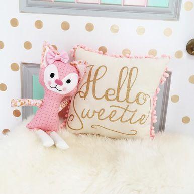 Pink gold hello sweet pillow