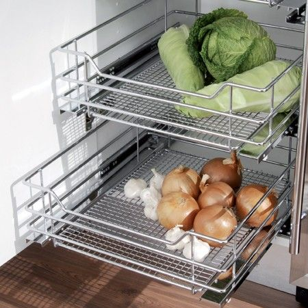 pull out shelves baskets drawers | wire mesh baskets - Pull out storage baskets and frame - Pull-out ...