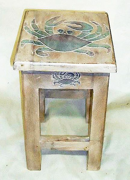 Best Tables Blue Crab Wooden Side Table Nautical Decor 400 x 300