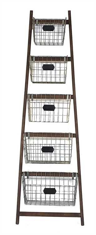 Wood Ladder Wire Baskets First Of A Kind Wood Ladder Wire Baskets Decor