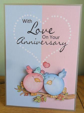 Cute Anniversary Card With Love Birds Anniversary Cards Anniversary Cards