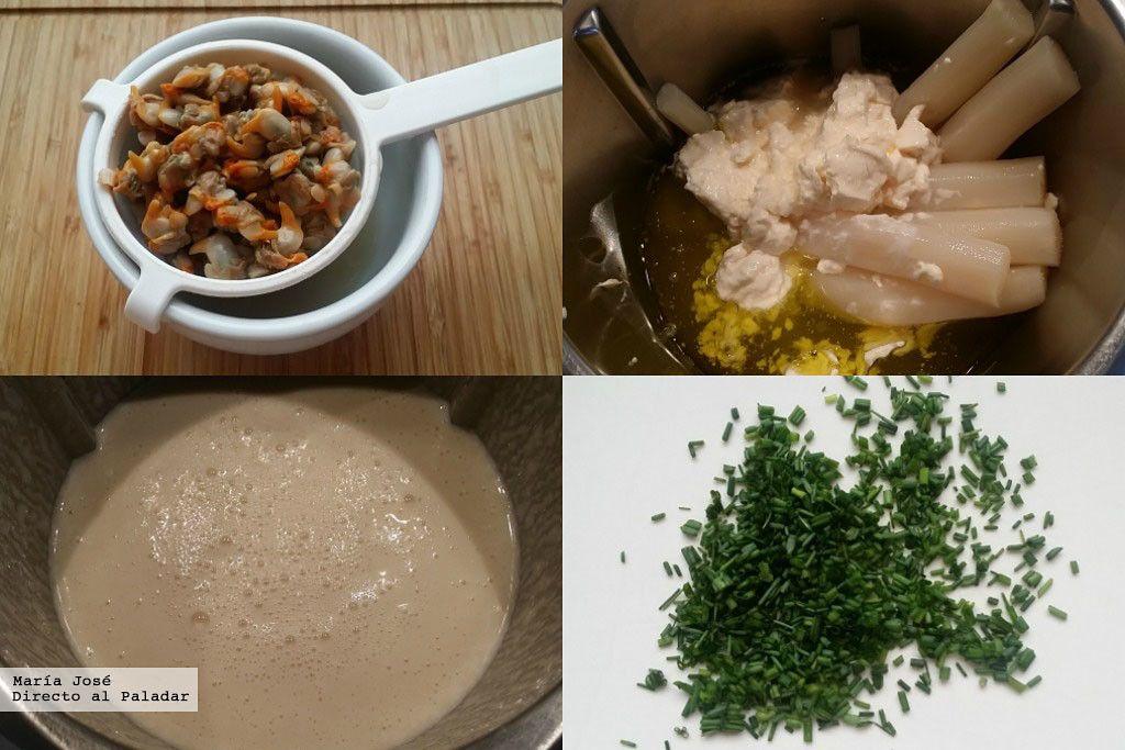 Crema tibia de espárragos y berberechos