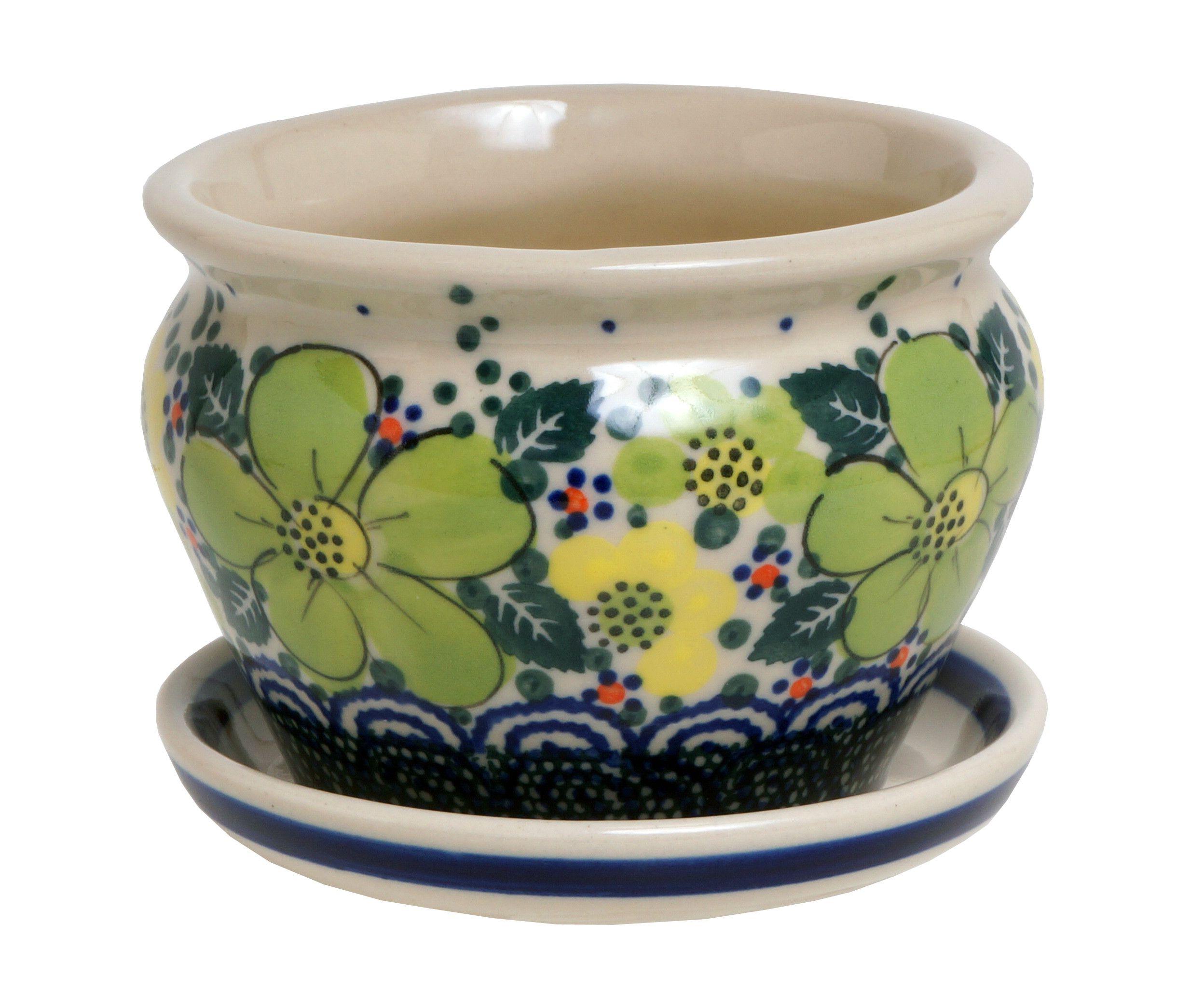 Polish Pottery 4 Flower Pot Azj The Polish Pottery Outlet Polish Pottery Polish Pottery Boleslawiec Polish Stoneware