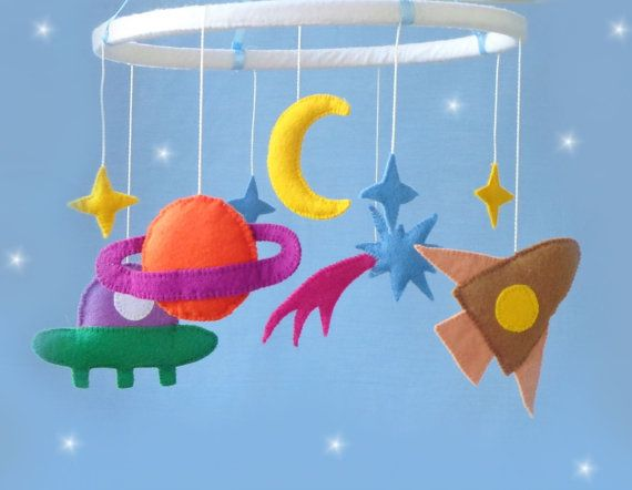 Space Baby crib Mobile -crib Mobile -Baby  Mobile - Nursery mobile  - newborn gift  - rocket,star,sun,planet,the aliens